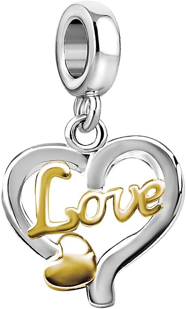 JMQJewelry Heart Love Dangle Charms for Bracelets Women Mother Jewelry