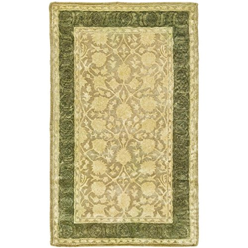 Safavieh Silk Road Collection SKR212A Handmade Ivory and Sage New Zealand Wool Area Rug (4' x 6')