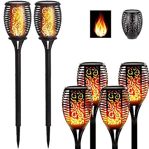 Solar-LED-Leuchten – Outdoor-Garten-Fackel   wiederaufladbarer Zaun-Flammeneffekt   Dekorationen für Camping, Terrasse, Weg, Nacht-Party-Zubehör, wasserdicht, flackernder Stab-Strahler (1 Stück)