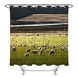 123456789 Schafe grasen Tier Gras Badezimmer Stoff Duschvorhang Set
