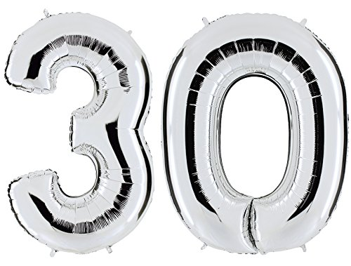 Ballon Zahl 30 in Silber - XXL Riesenzahl 100cm - zum 30. Geburtstag - Party Geschenk Dekoration Folienballon Luftballon Happy Birthday - PARTYMARTY GMBH®
