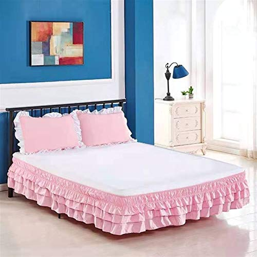 WWQQ Volantes Faldas de la Cama 120x200cm /150x200cm /180cmx200cm Encaje Estilo Princesa Colchas Lace Recortado Bedding Ruffled Bedskirt (Color : H, Size : 120x200+38cm)