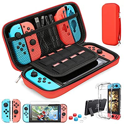 HEYSTOP Switch Carrying Case for Nintendo Switch Case with Screen Protector, 9 in 1 Nintendo Switch Accessories Kit and 6 Pcs Thumb Grip, Nintendo Switch Protective Case by HEYSTOP