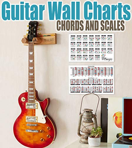 Adagio 2 x A4 bunte Akkord- und Maßstab-Diagramme (plus gratis A5 Gigbag-Tabelle) – Lernen Sie Gitarre und Üben mit voll illustriertem Farbkarten-Wandposter
