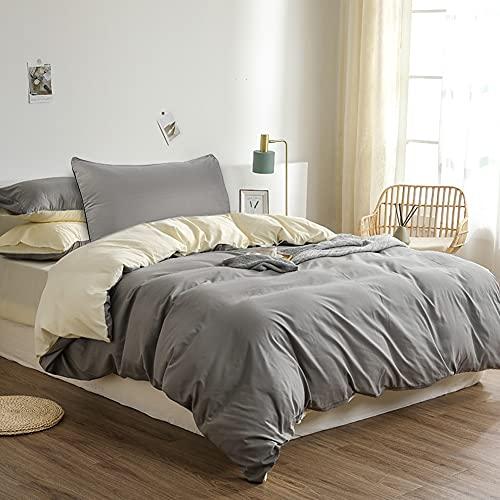 Polyester Bettwäsche, Oxford Street Grau/Beige Quilt Ärmel Ohne Muster, 135x200cm Bettbezug *1,50x75cm Kissenbezug *1, Geeignet für Einzelbett