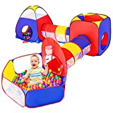 5pc Baby Ball Pits for Toddlers, Kids Play Tent and Play Tunnel, Children Indoor Outdoor Playhouse with Crawling Toys, Boys and Girls Best Birthday Gifts (5 in 1 Kids Play Tent)