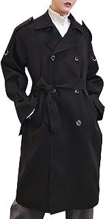 XINHEO Men's Below The Knee British Style Overcoat with Pockets
