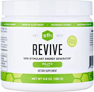 Revive (Mojito) by SFH | Non Caffeinated Natural Energy Drink | Supports Hydration, Alertness, Energy, Reduce Fatigue | CoQ10, Ribose, N-Acetyl L-Carnitine | 5.6oz | 20 Servings