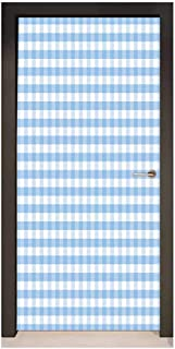 Homesonne Checkered Door Wallpaper Little Squares and Stripes Pastel Color Gingham Repeating Rows Vintage Tile Modern Art Light Blue White,W38.5xH77