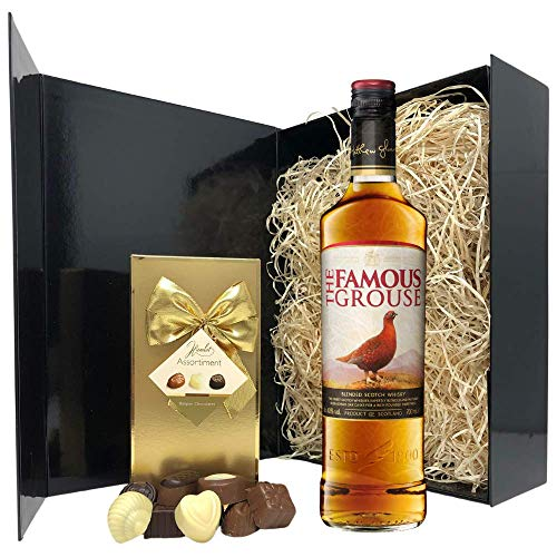 Whisky Gift Set - Famous Grouse Blended Scotch Whisky and Chocolates Hamper - Birthday, Christmas Whisky Gifts for Men and Women