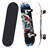 TOCDROA Skateboard 31''Pro Complete 7 Layers Canadian Maple Wood Double Kick Concave Standard,Skate Board for Beginners Kids Teens Adults Boys Girls Cool Design