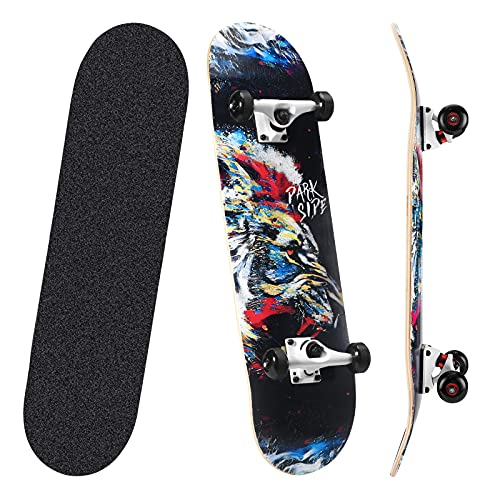 TOCDROA Skateboard 31''Pro Complete 7 Layers Canadian Maple Wood Double Kick Concave Standard,Skate...