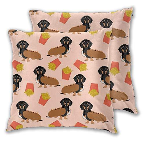 Funda de cojín Doxie Dachshund Winer perro caliente y patatas fritas disfraz lindo divertido alimento novedoso perro mascota cachorro impresión juego de 2 fundas de almohada cuadradas para sofá silla sofá o dormitorio fundas de almohada decorativas