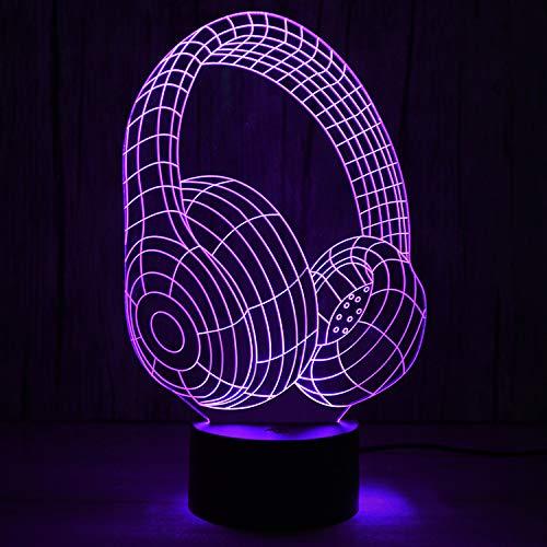 7 kleur veranderende nacht licht, 3D optische Illusie Lamp Nachtlampje LED Kids,7 Kleur Variaties, Draagbare Koele Koptelefoon Energiebesparende lamp