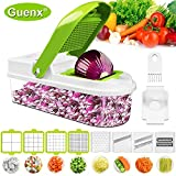Guenx®11 in 1 Gemüseschneider, Gemüsehobel   Zwiebelschneider   Edelstahl Klingen/Obst und Gemüseschneider Zwiebelschneider, Ideal zum Hobeln von Obst und Gemüse   2020 NEU