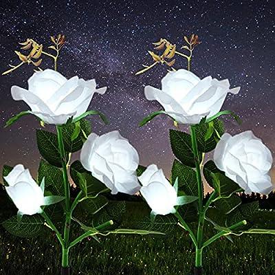 Amazon - 50% Off on Outdoor Solar Flower Lights Solar Rose Lights Solar Lights Outdoor Decorative