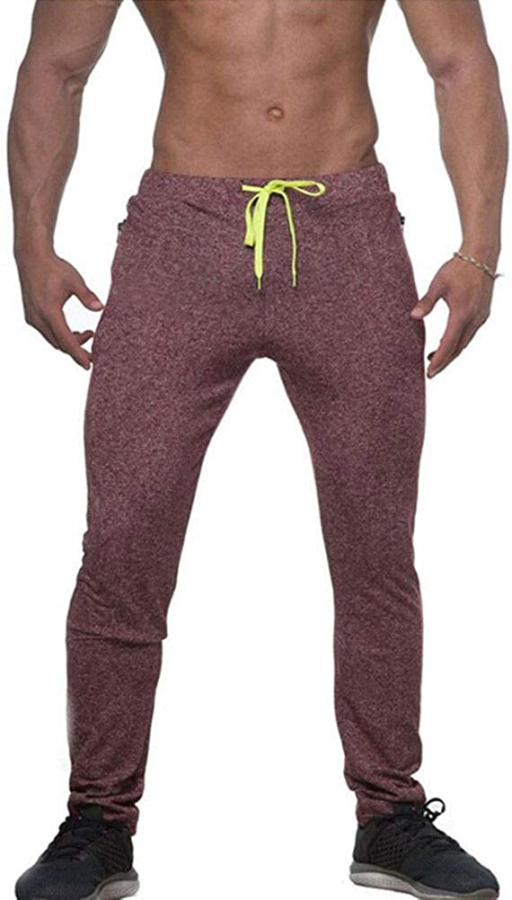 Mikely store Mens Fitness Joggers Trousers Men Cotton Sports Pants Slim Stretchy Casual Adjustable Tracksuit