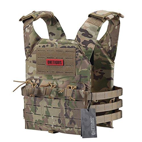 OneTigris Laser-cut Vest 500D Nylon Light-Weight Tactical Combat Modular Vest (Multicam)