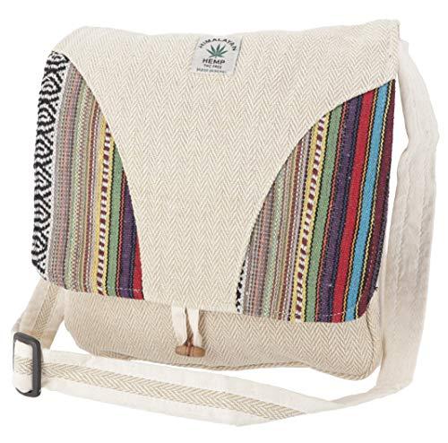 GURU SHOP Hanf Schultertasche, Ethno Nepal Tasche - Hanftasche 6, Herren/Damen, Blau, Size:One Size, 30x30x10 cm, Alternative Umhängetasche, Handtasche aus Stoff