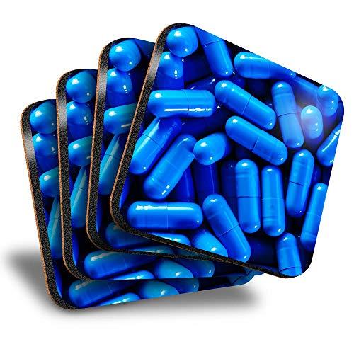 Destination Vinyl ltd Great Posavasos (juego de 4) cuadrados, color azul píldoras, enfermera, farmacia, bebida, posavasos/protección de mesa para cualquier tipo de mesa #14639