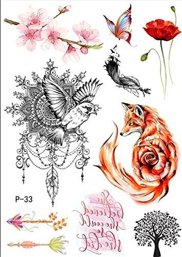 TATTOO WATERKLEUREN vos boom bloemen vogel nep tattoo P33