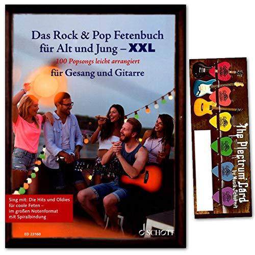 Das Rock & Pop Fetenbuch für Alt und Jung XXL - 100 Popsongs leicht arrangiert für Gesang und Gitarre - mit Plektrum SET - als Geschenkidee hervorragend geeignet !