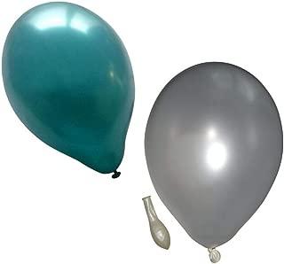50 metallic Luftballons je 25 weiß & türkis Qualitätsballons 27 cm Durchmesser Standardgröße B85