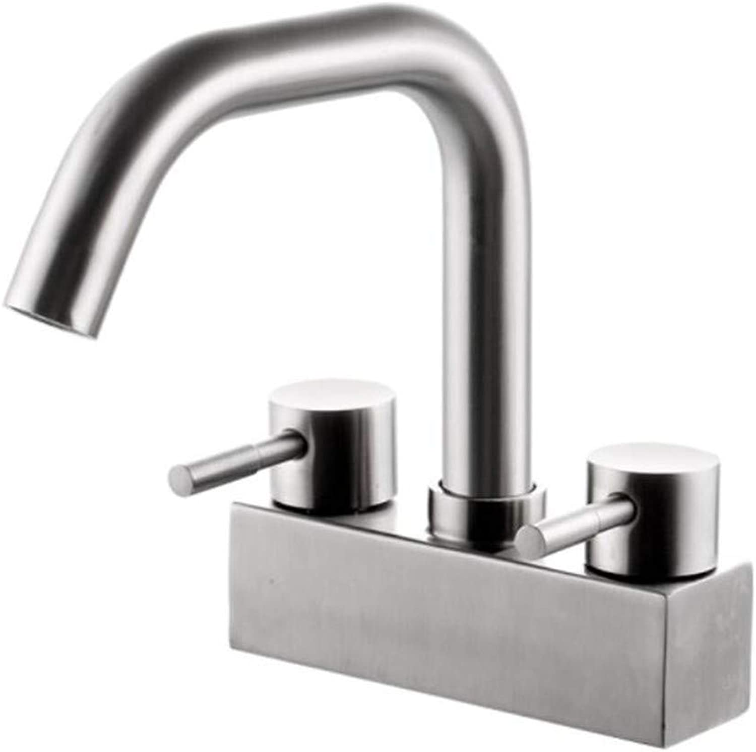 Taps Mixer?Swivel?Faucet Sink 304 Stainless Steel Basin Faucet Cold and Hot Double-Handled Double-Hole Washbasin Bathroom Cabinet 360 Degree redating Faucet