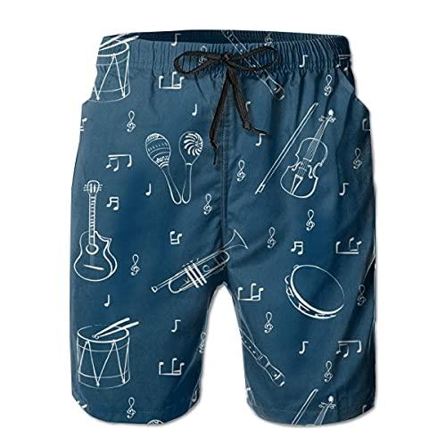 XCNGG Pantalones Cortos de Playa Man Board Shorts Running Swimtrunks Instrument Guitar Beach Pants Mesh Lining with Pockets M