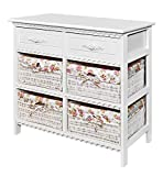 ts-ideen Kommode Badschrank Flurschrank mit 70 cm Breite in Weiss mit Zwei Schubladen und Vier Körben mit rosa-weißem Stoff-Bezug