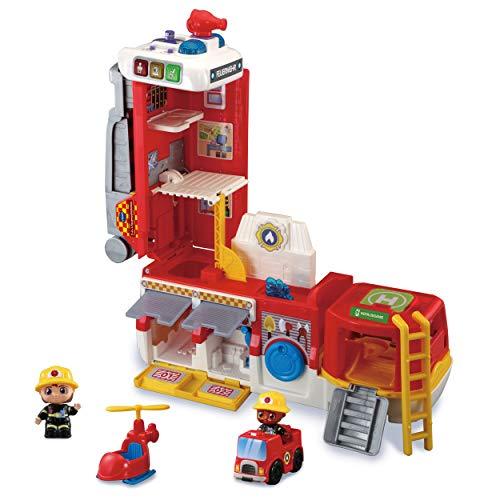 Vtech 80-529804 2-in-1-Feuerwehrstation Babyspielzeug, Feuerwehrstation, Feuerwehrauto, auf Knopfdruck verwandelbar
