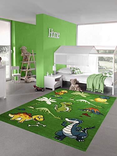 Teppich-Traum Alfombra Infantil Alfombra de guardería de Dinosaurios volcán de la Selva en Verde Größe 140x200 cm