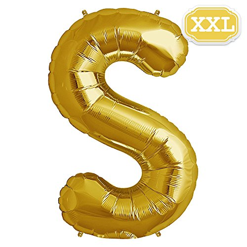 XXL Folienballon Buchstaben Gold [ ca.100cm ] , Buchstaben ballon für Geburtstag Jubiläum & Party Geschenk Dekoration Folienballons Luftballons Zahl ballon Happy Hochzeit Birthday [ A ~ Z ] (GOLD[S])
