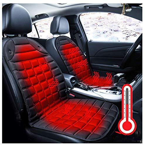 Qdreclod Auto Sitzheizung Heizkissen 12V Beheizte Sitzauflage Beheizte Sitzkissen mit Temperatur Kontrolleur Universal Regulierbare Vordersitz Heizauflage Autositzauflage Hot Stuff Sitzkissen (2 PCS)