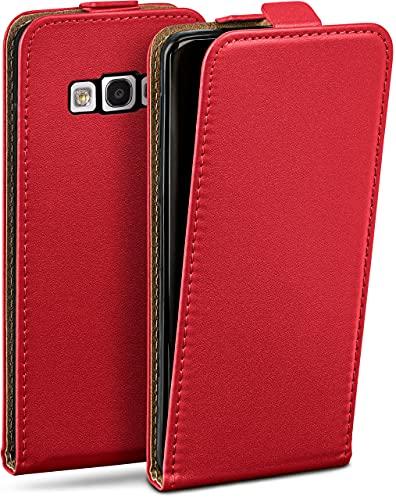 moex Flip Hülle für Samsung Galaxy S3 / S3 Neo - Hülle klappbar, 360 Grad Klapphülle aus Vegan Leder, Handytasche mit vertikaler Klappe, magnetisch - Rot