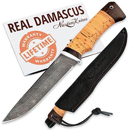 Hunting Knife - Damascus Knife - Skinning Knife for Hunting - Real Damascus - Birchbark - VEPR - Leather Sheath