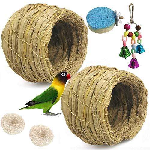 kathson Straw Bird Nest Natural Fiber Birdcage Birdhouse Parrot Hideaway Shelter Hut Parakeet Perch Hanging Bell Toys for Small Finch Canary Lovebird Resting Breeding Playing 6PCS