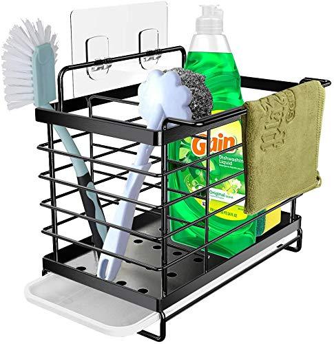 Orimade Organizador Sink Caddy Soporte para Utensilios de Cocina Adhesivo &Encimera para el Fregadero Acero Inoxidable Negro
