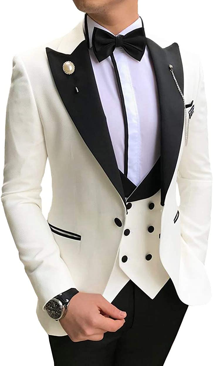 Jiaoyunshi Men Suits Slim Fit 3 Piece Notched Lapel Prom Tuxedo Groomsmen for Wedding Jacket Vest Pants
