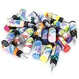 Pssopp Juego de Pintura acrílica 24 Colores Pintura metálica en Botellas Pintura acrílica Pigmentos para Rocas Artesanía Lienzo Pintura de Tela de Madera