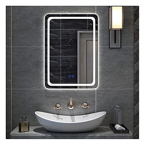 XIAOYUE Rectangular LED Espejo de baño 50 x 70 cm Espejo de luz de Baño Espejo de Vanidad Espejo de Pared con Iluminación Interruptor Antiniebla Táctil Brillo Dimbar, Pantalla de Tiempo/Temperatura