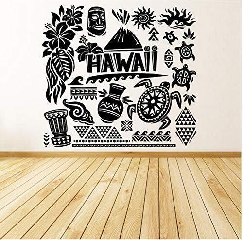 Vinyl Wandaufkleber Aufkleber Kreative Wohnkultur Kunst Muster Hawaii Island Beach Fun Tiki Turtle Sea Ocean Wandbild 42X46Cm