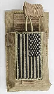 M1SURPLUS MOLLE Style Tan Color Tactical Radio Pouch + Patriot Flag Morale Patch Fits Yaesu VX-170 FT-60R FT-70DR FT250R FT270R VX110 VX120 VX127 VX7R VX8R FTA-550L FT-25R FT-65R FT2DR HT HAM Radios