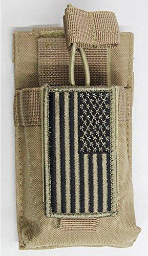 M1SURPLUS MOLLE Compatible Tan Color Radio Pouch + Patriot USA Flag Morale Patch Fits Icom IC-V8 IC-91A Yaesu FT250R FT270R VX-170 FT-60R FT-70DR UV5R UV5RA HAM Radios