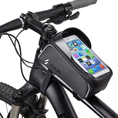 Bolsa Bici, Sombreado impermeable Bicicleta de montaña/carretera al aire libre Bolsa de tubo superior portátil para montar, Bolsa de sillín de bicicleta para teléfono inteligente con pantalla táctil