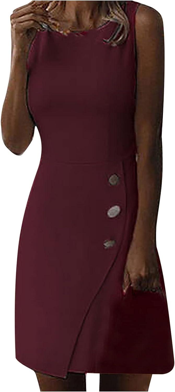 Womens Vintage Bodycon Peplum Business Formal Work Pencil Dress O-Neck Knee-Length Dress