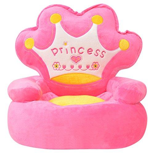 Festnight Chaise pour Enfants en Peluche Forme Princesse Rose Cadeau pour Noël Enfant