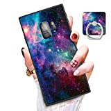 Someseed Samsung Galaxy S9 Case Galaxy S9 Case with Kickstand Ring Holder Duty Shock Absorbent Full Body Drop Protection Modern Black Marble Design Cover for Samsung S9 (Starry Sky)