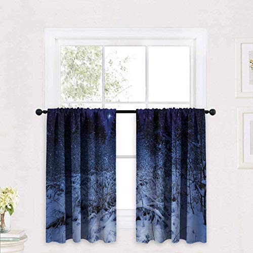 ScottDecor Christmas Tier Curtains Snowy Forest at Night with Xmas Star Holiday Blizzard Winter Sky Universe 30 x 24 inch for Small Window Kitchen Bedroom Bathroom