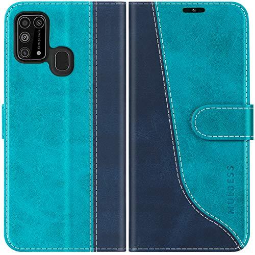 Mulbess Handyhülle für Samsung Galaxy M31 Hülle Leder, Samsung Galaxy M31 Handy Hüllen, Modisch Flip Handytasche Schutzhülle für Samsung Galaxy M31, Mint Blau